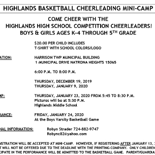 CHEERLEADING MINI-CAMP Offered for Grades K-4 Girls, Boys