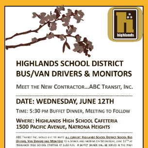 Highlands Bus Drivers/Monitors Dinner Meeting - June 12