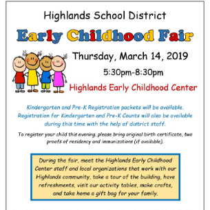 Kindergarten & Pre-K Registration & Early Childhood Fair: MARCH 14