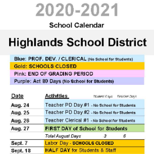2020-21 District Calendar Board Approved