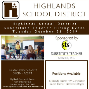 Substitute Teacher Hiring Event on October 22 at Highlands Community Center