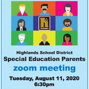 Special Education Parents: Zoom Meeting Aug. 11