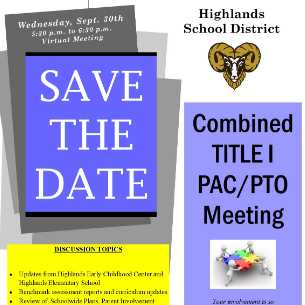 Save the Date! Combined Title I PAC / PTO Meeting - Sept. 30
