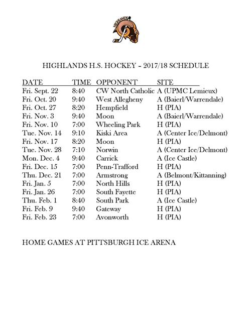 Hockey Schedule